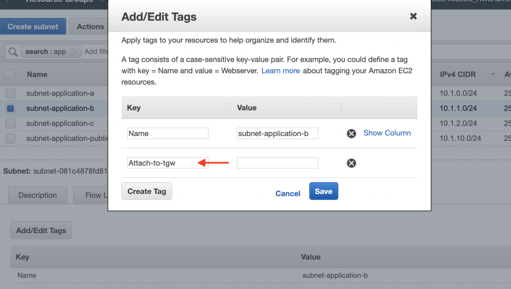 Tags for Applications subnet
