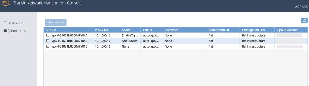 Transit Network Management web interface