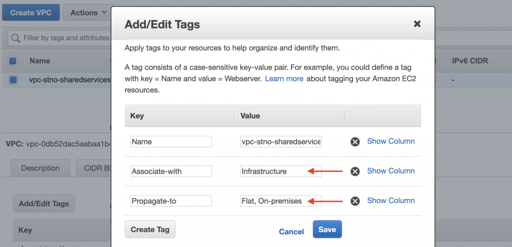 Tags for Shared Service VPC
