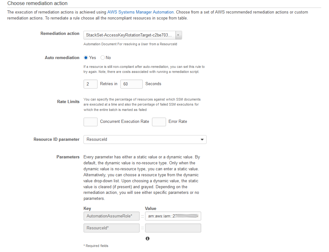 Choose remediation action page filled out to invoke the deployed Remediation