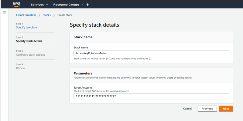 Specify stack details screen with multiple accounts