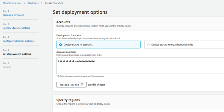 Set deployment options page completed for deploying to multiple accounts