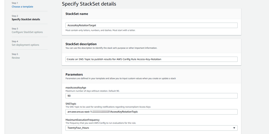 Specify StackSet details page completed with parameters