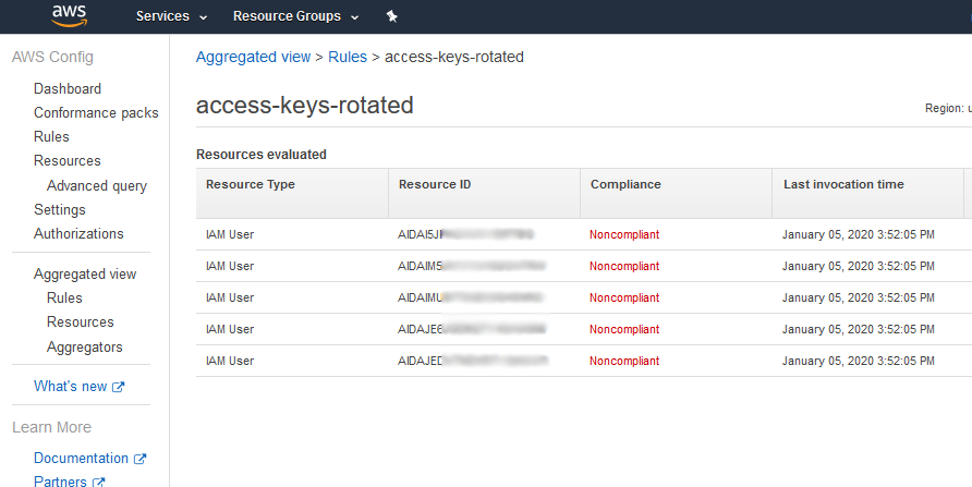 AWS Config console view of non-compliant access keys