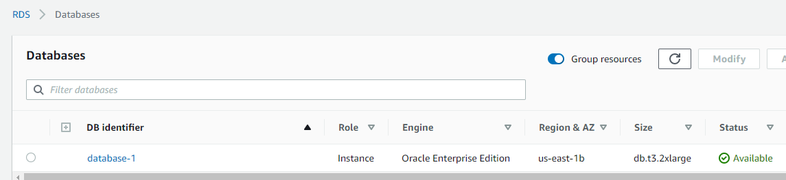 Amazon RDS for Oracle instance created on t3.x2xlarge