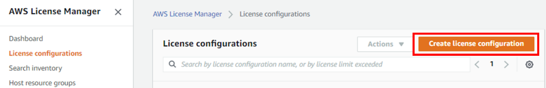 Create license configuration
