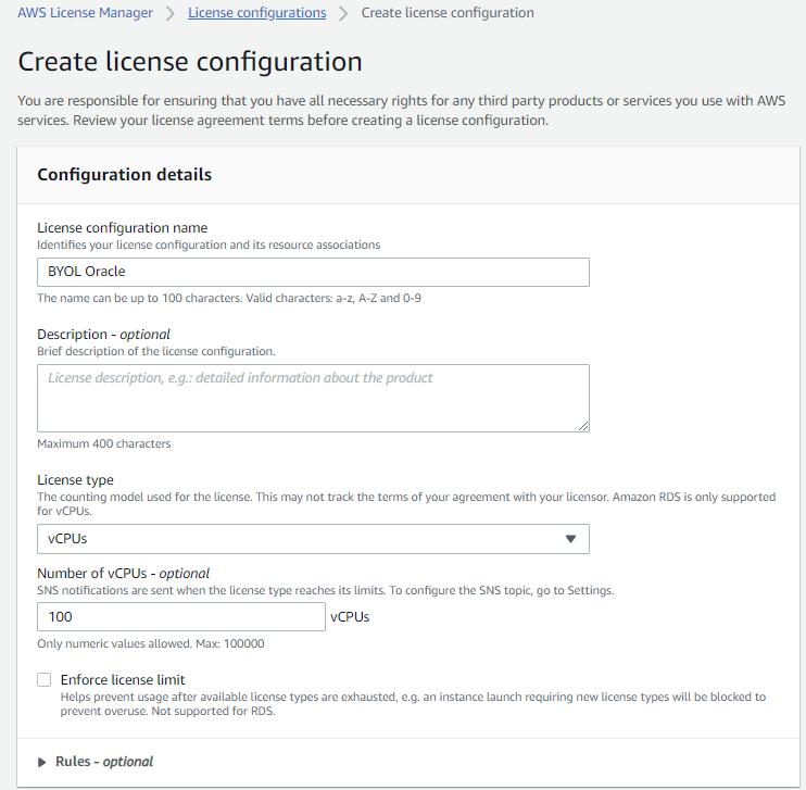 Specify license configuration details