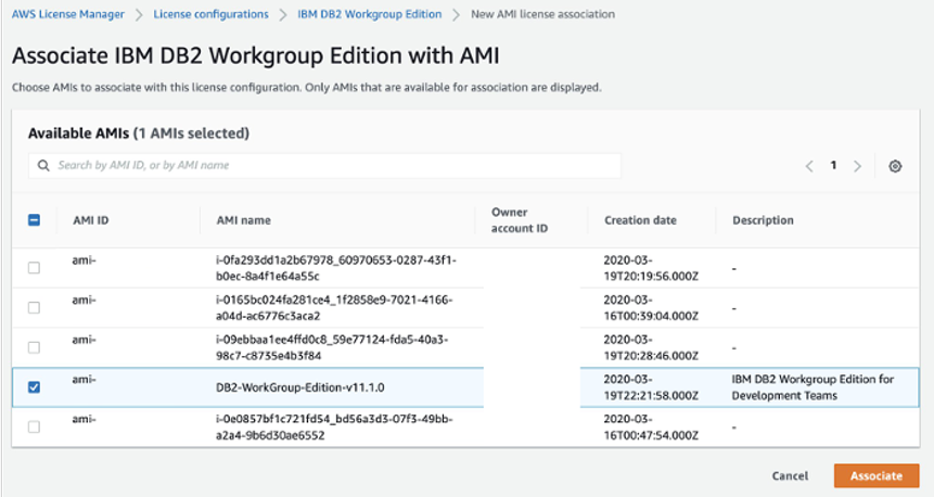Image showing available AMIs with the Db2 Workgroup Edition AMI selected.