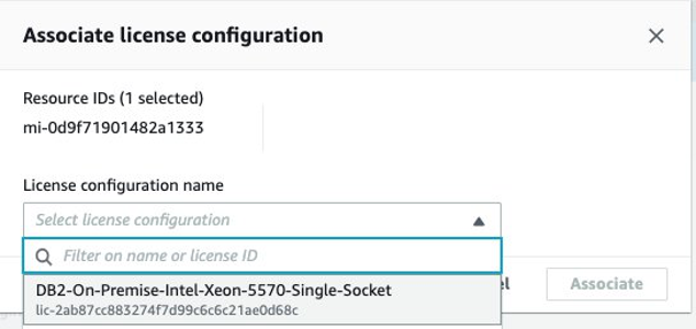 Image showing associate license configuration dialog with AWS Systems Manager managed instance