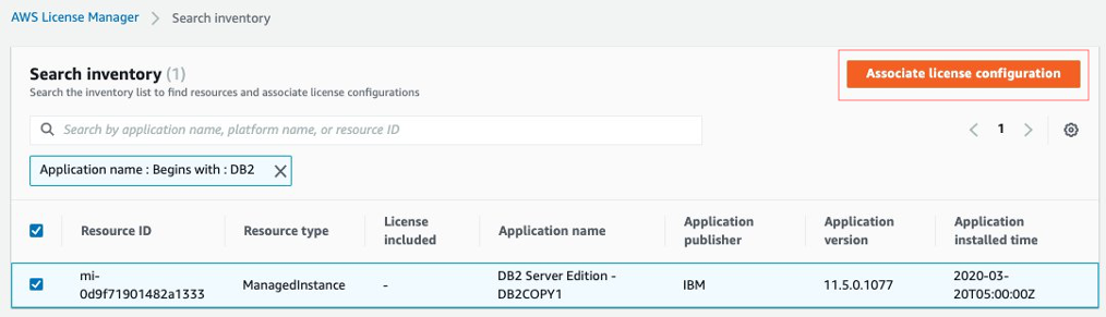 Image showing AWS License Manager search inventory results for DB2