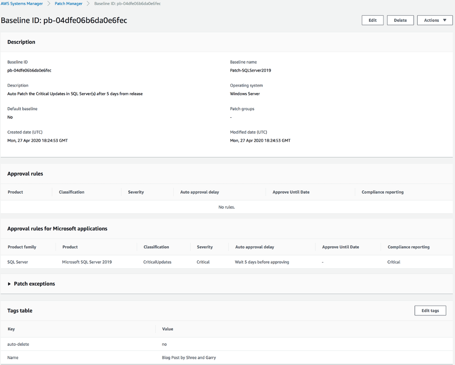 Picture showing the AWS console screenshot of patch baseline
