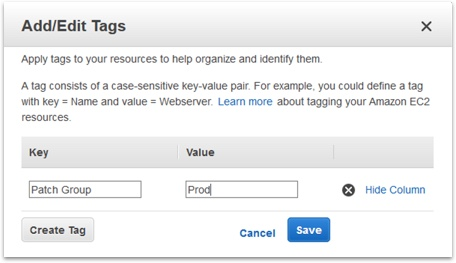 Picture showing adding a tag to a resource in AWS console