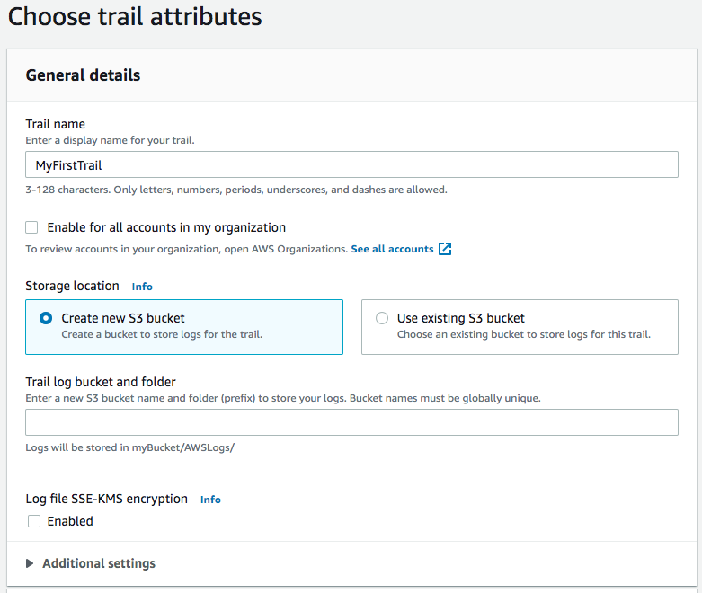 Creating a CloudTrail - General details section sample screenshot