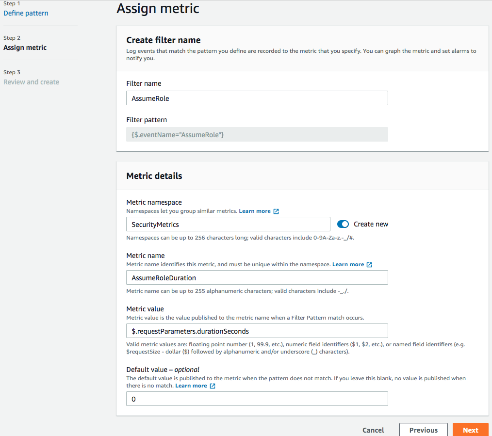 Additional Details - Sample of creating a metric filter and what user needs to enter
