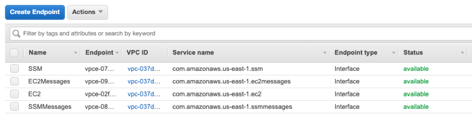List of interface VPC endpoints for AWS Systems Manager