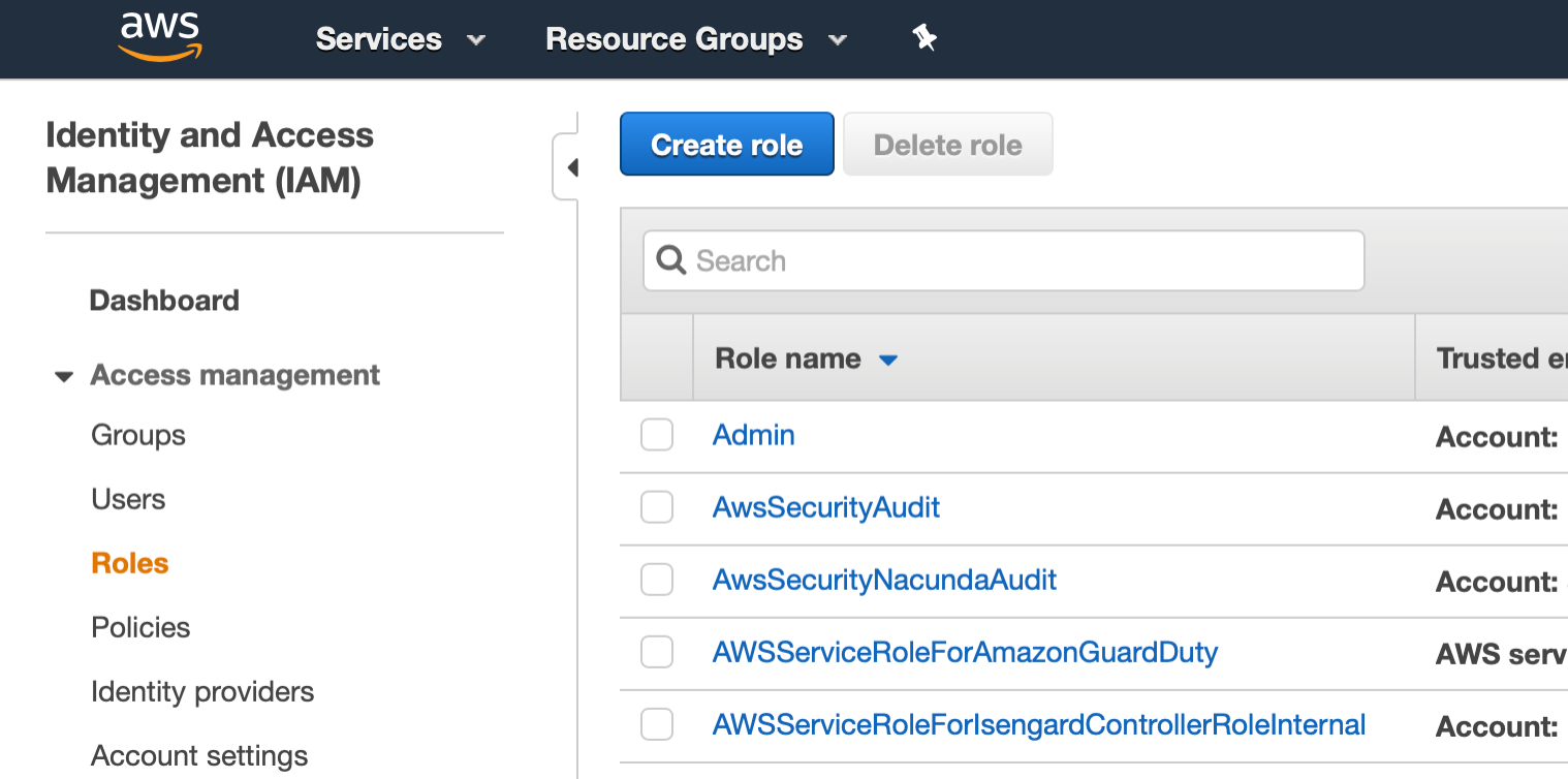 AWS Management Console shows IAM service with Roles selected.