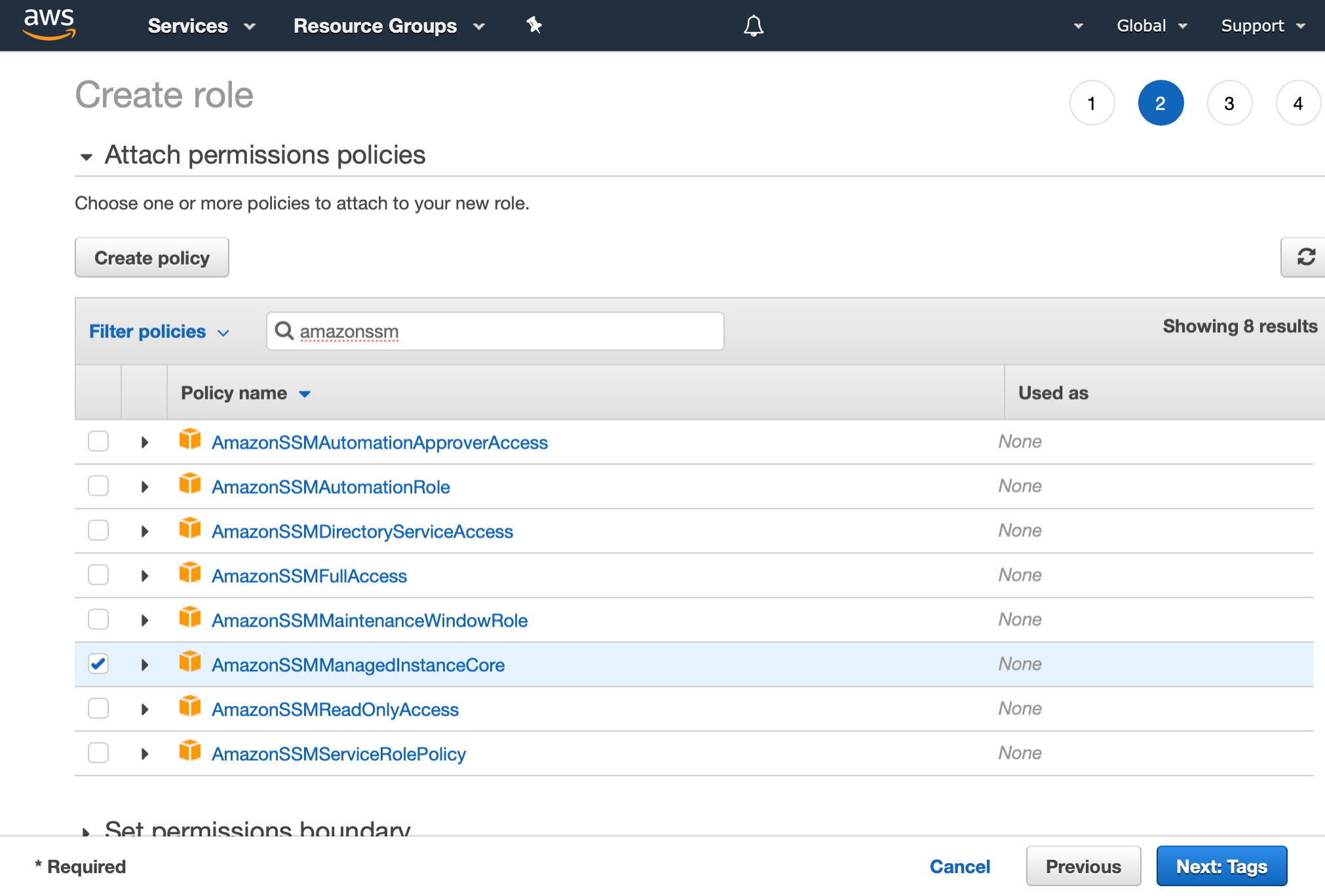 AWS Management Console shows the Attach permissions policies step of the IAM Create role wizard. We have selected AmazonSSMManagedInstanceCore policy with a checkmark.