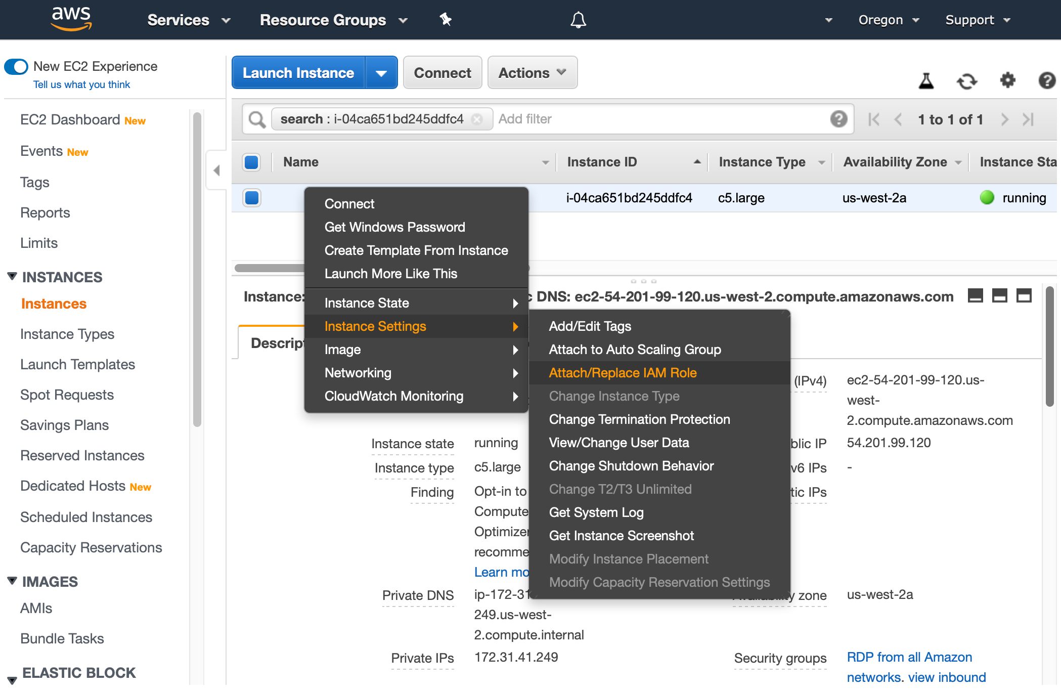 AWS Management Console shows the EC2 service and Instances view. Context menu for one EC2 instance is opened and Attach/Replace IAM Role is selected