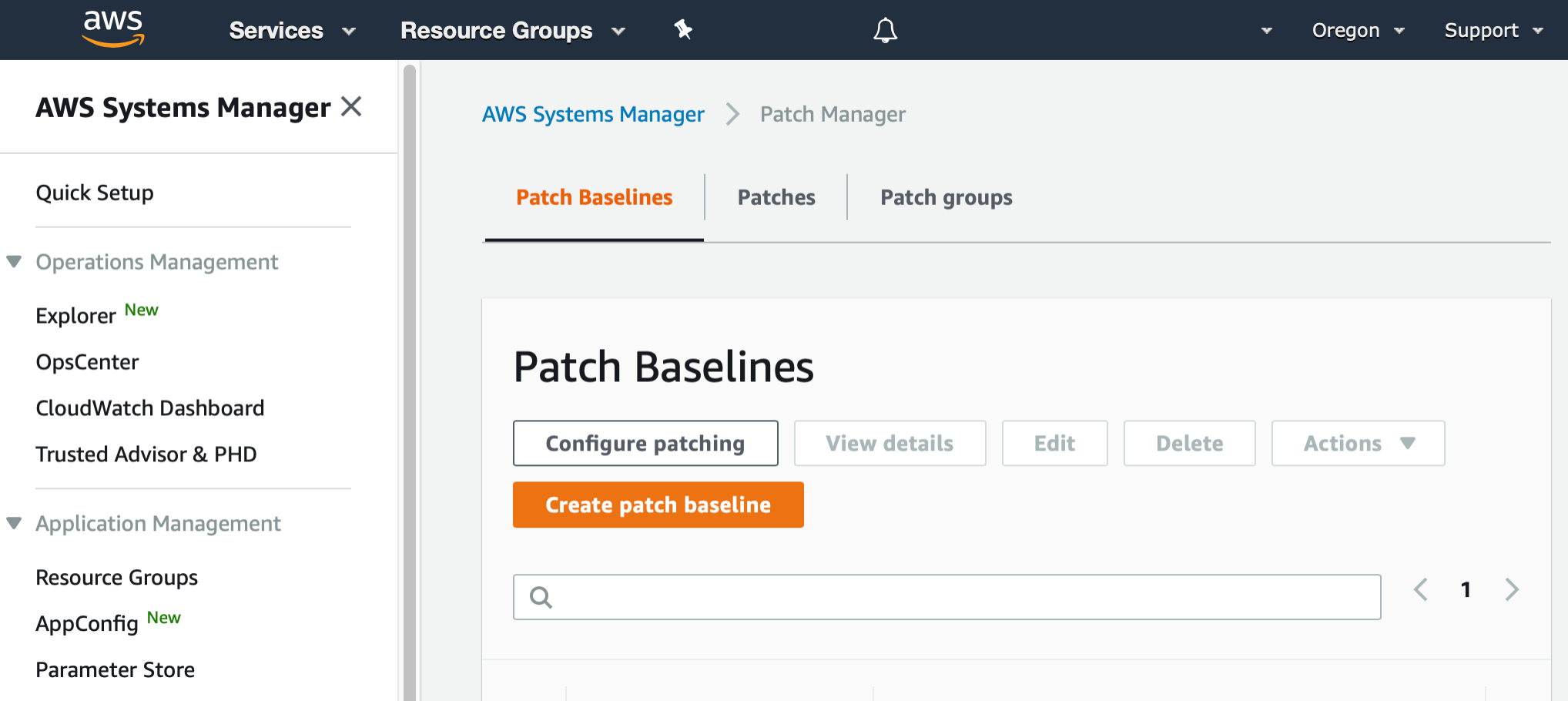 AWS Management Console shows the top of the Patch Baselines page. There is a button labeled Create patch baseline.
