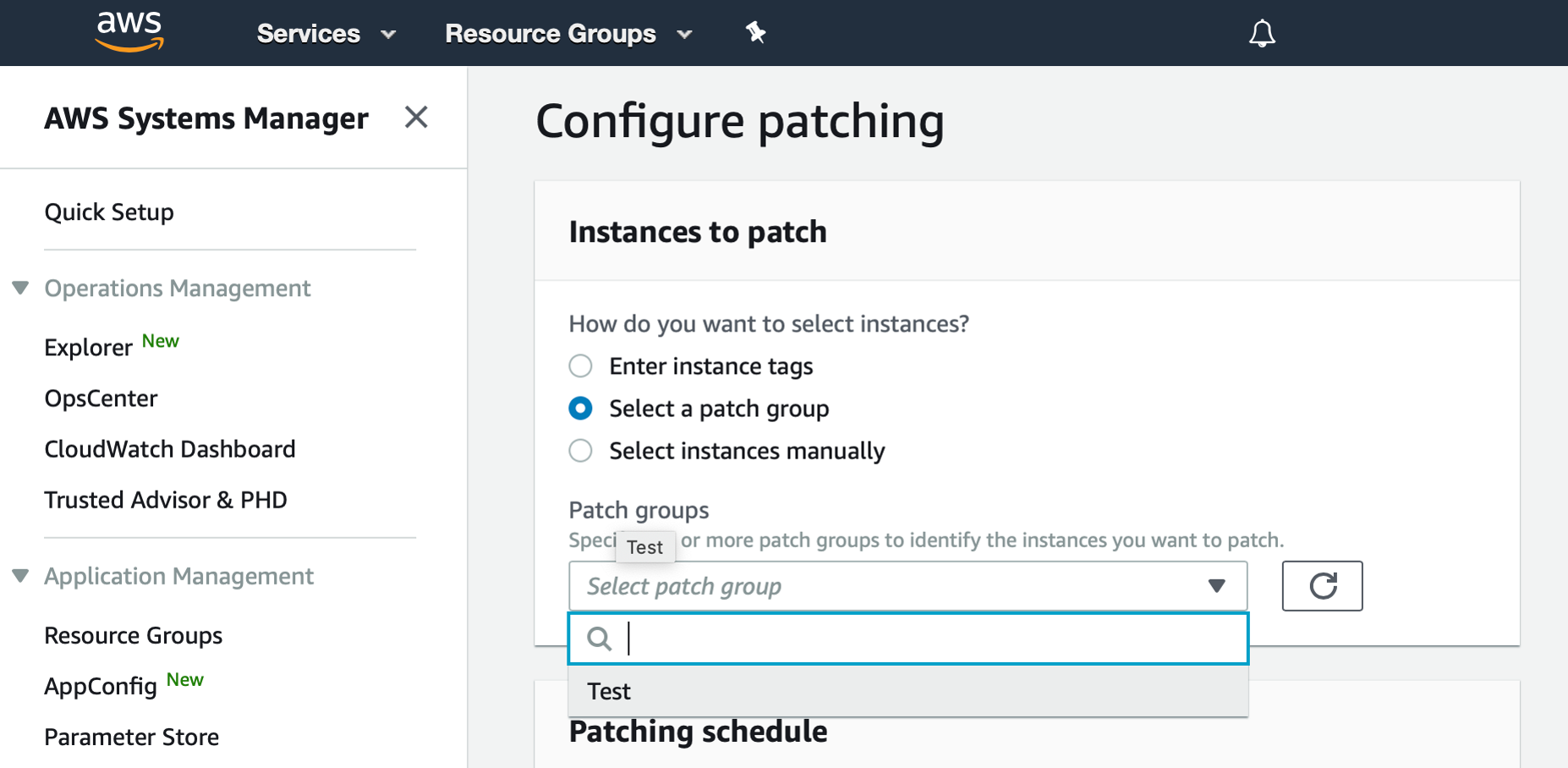 "AWS Management Console shows Configure patching dialog. The ""Select a patch group"" radio button is selected. From the Patch groups dropdown list, ""Test"" is selected."