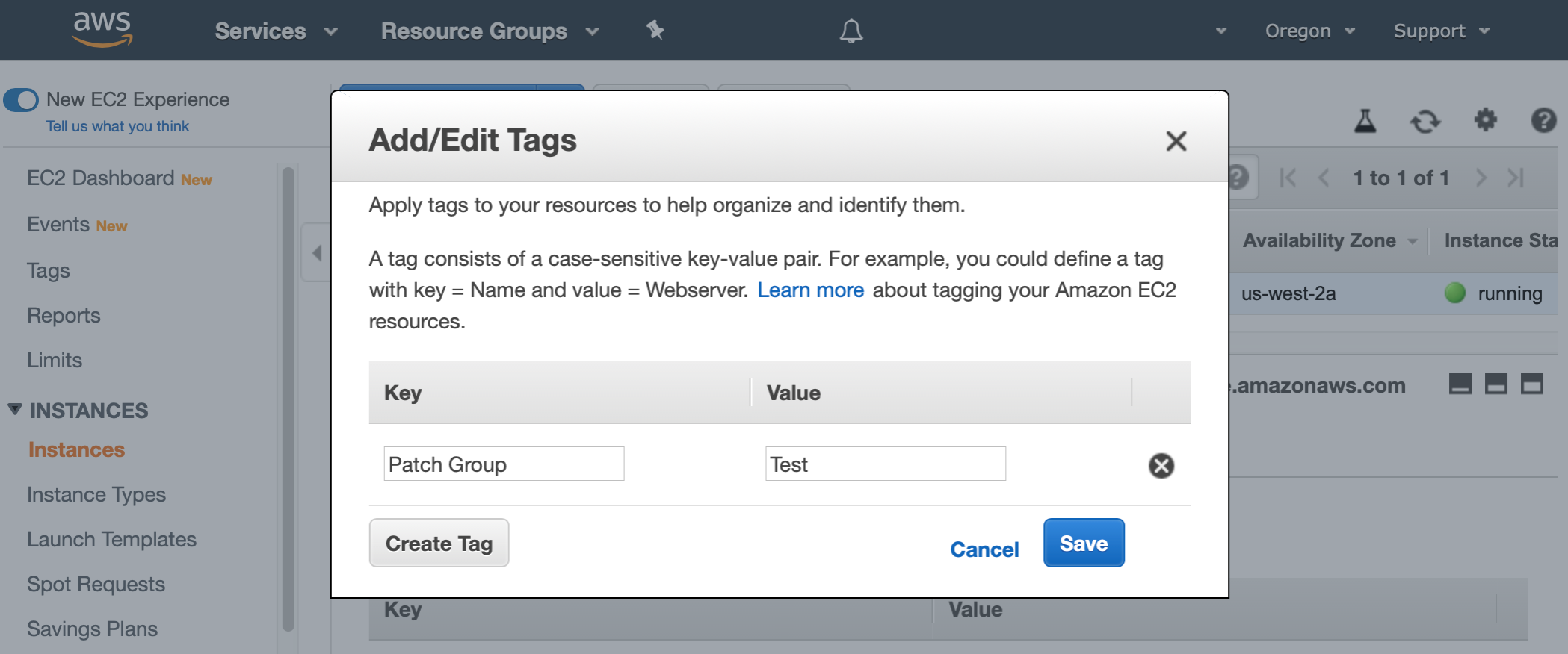 "AWS Management Console shows Add/Edit Tags dialog. The Key field is populated with ""Patch Group"" and the Value field is populated with ""Test""."