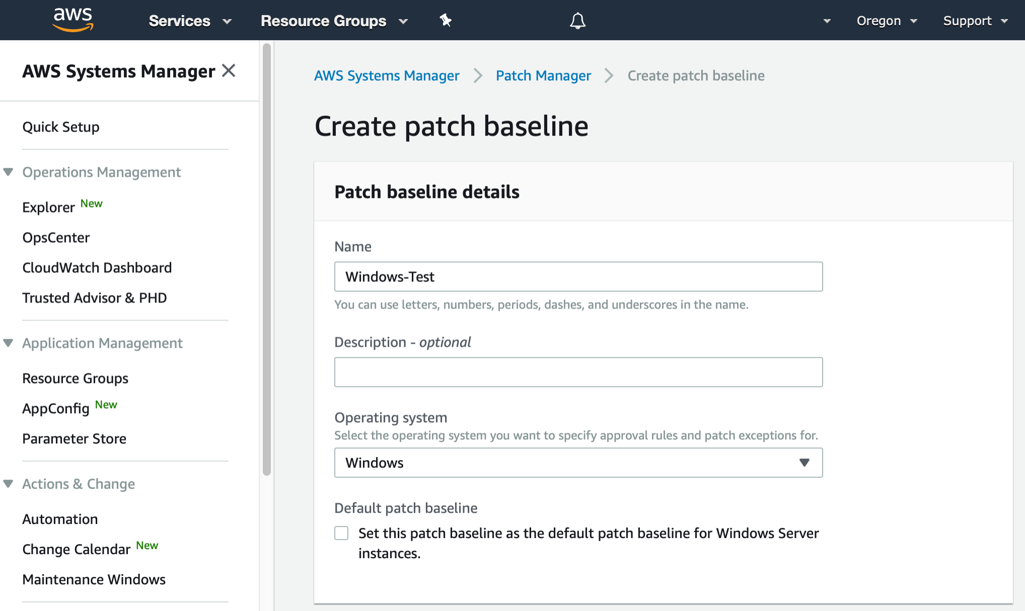 AWS Management Console shows Create patch baseline dialog. The Name and Operating System fields have been populated