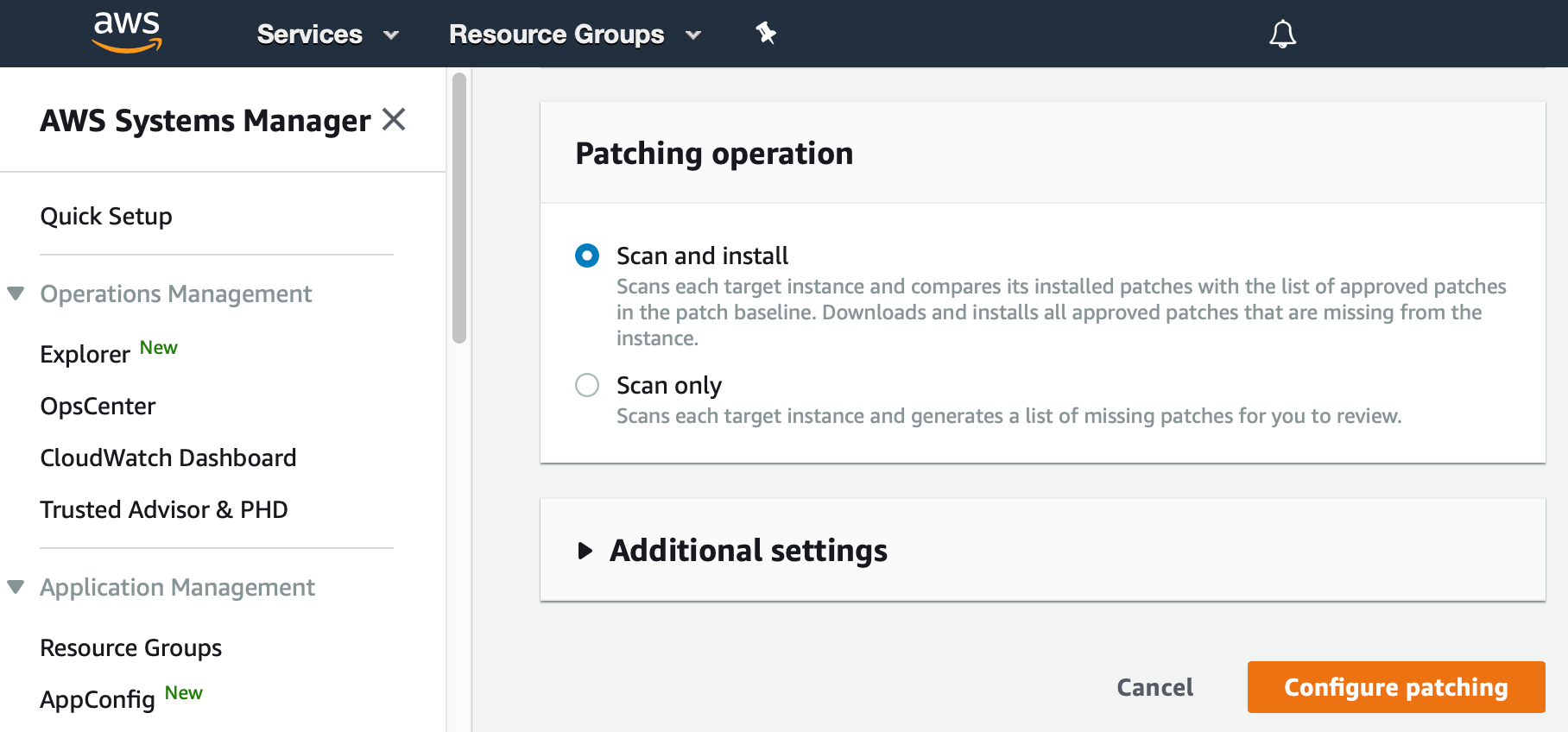 "AWS Management Console shows the Patching Operation section of the Configure patching dialog. ""Scan and install"" radio button is selected."