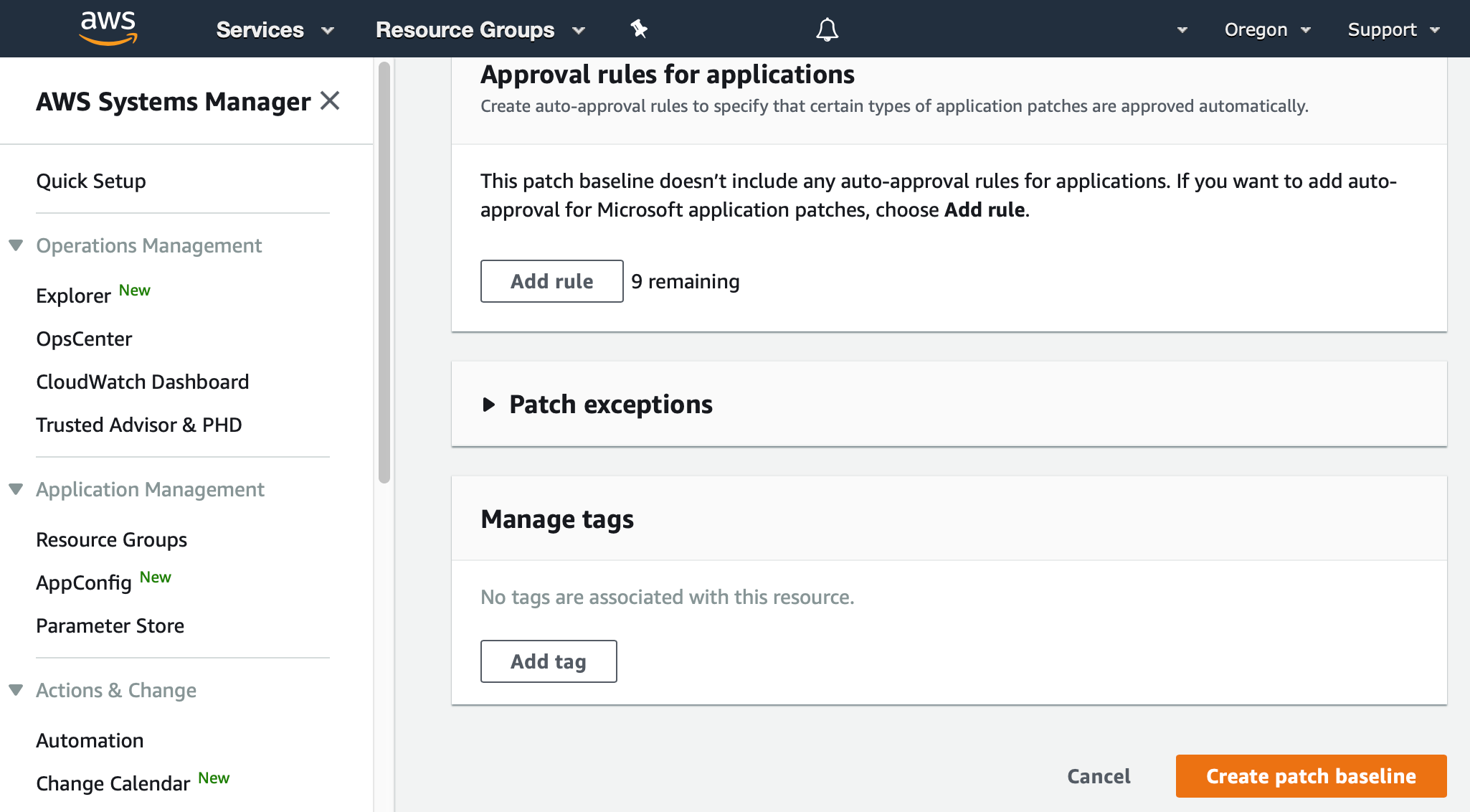 "AWS Management Console shows the bottom of the Create patch baseline dialog, with a button labeled ""Create patch baseline"""