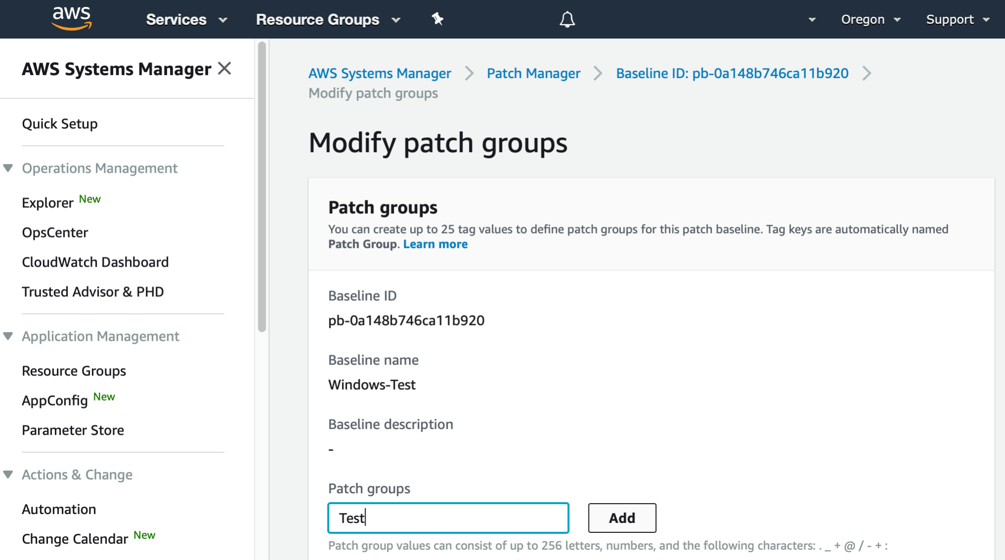 "AWS Management Console shows Modify patch groups dialog. In a text box labeled ""Patch groups"", ""Test"" has been entered. There is a button to Add."