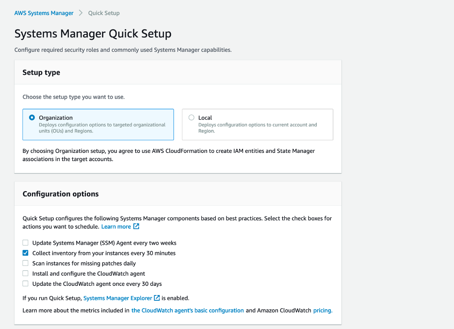 Systems Manager Quick Setup Organization feature with configuration options