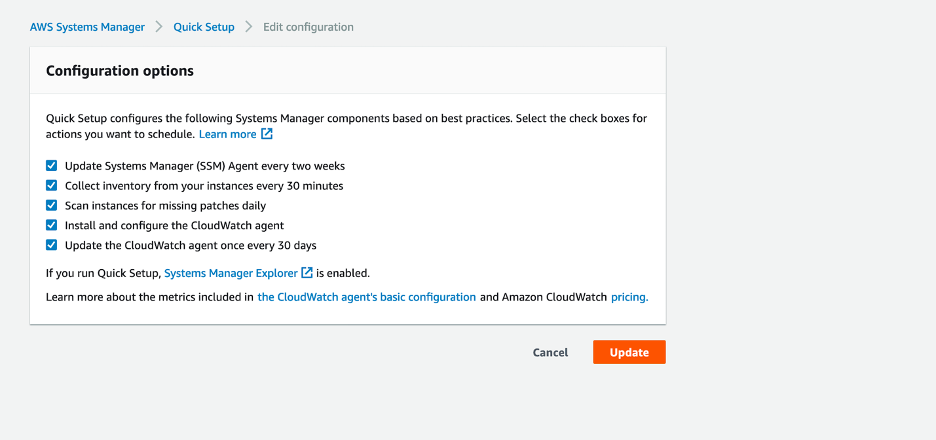 Quick Setup configuration options enabled for Amazon CloudWatch agent