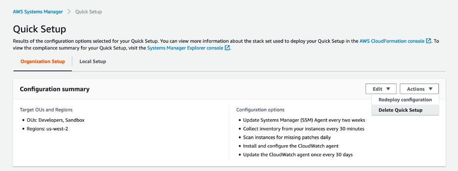 Delete Quick Setup configuration