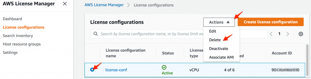 Deleting a AWS License Manager License configuration from the console