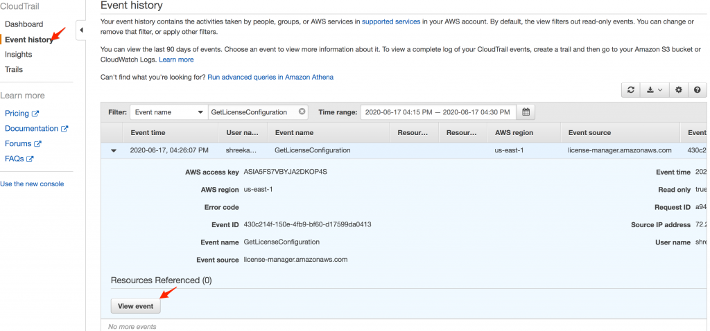Filtering for GetLicenseConfiguration event in AWS CloudTrail console