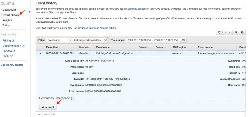 Filtering for ListUsageForLicenseConfiguration event in AWS CloudTrail console