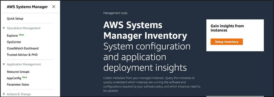 "Click on ""Setup Inventory"" to start inventory configuration"