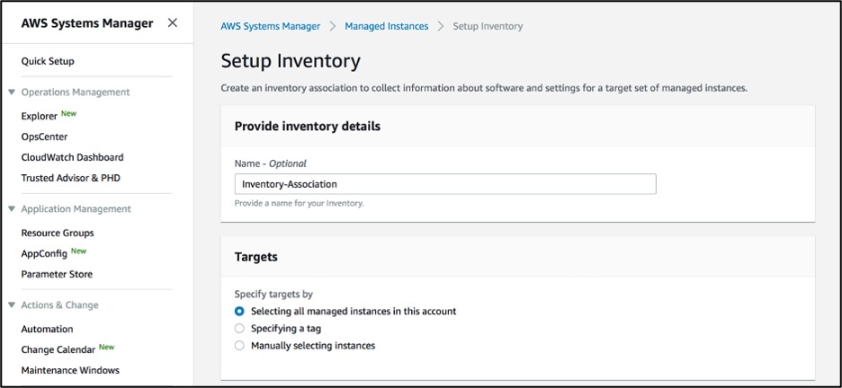 Input a name for your inventory association and specify the targets