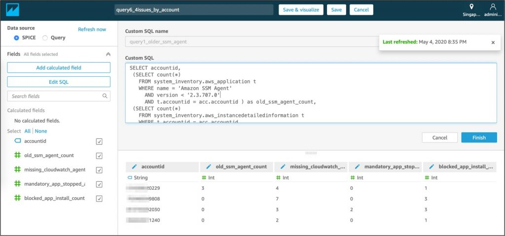 Input SQL queries from step 6 in Amazon QuickSight 'Custom SQL' field