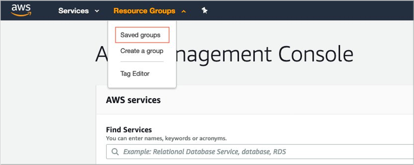 Figure 1: Navigating to Resource Groups in the AWS Console