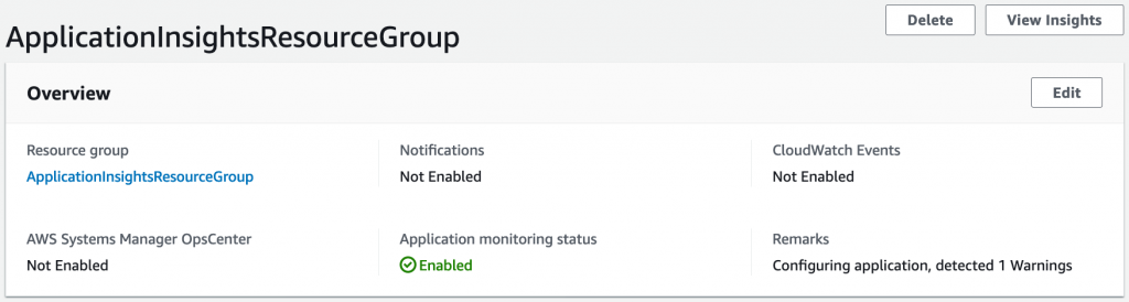 Application Insights resource group enabled for monitoring