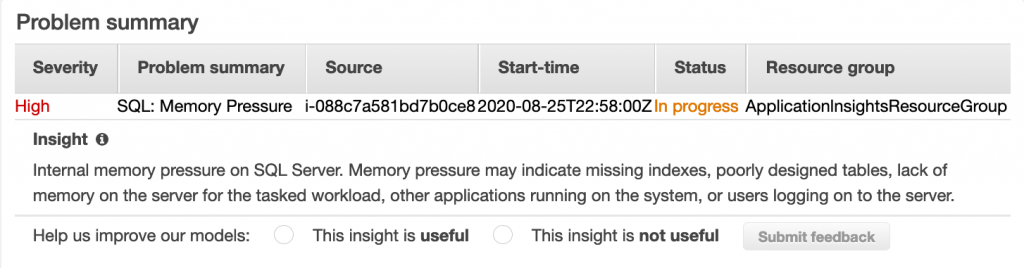 SQL Memory pressure error in progress