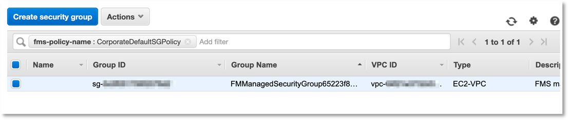 Amazon VPC console displays the security group, FMManagedSecurityGroup65223f8, created by the Firewall Manager.