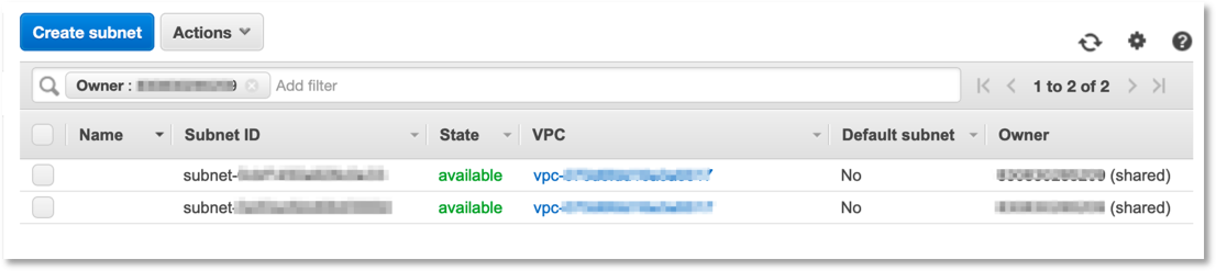 VPC console that shows the new AWS account uses the shared VPC and subnets created in the Prerequisites Section