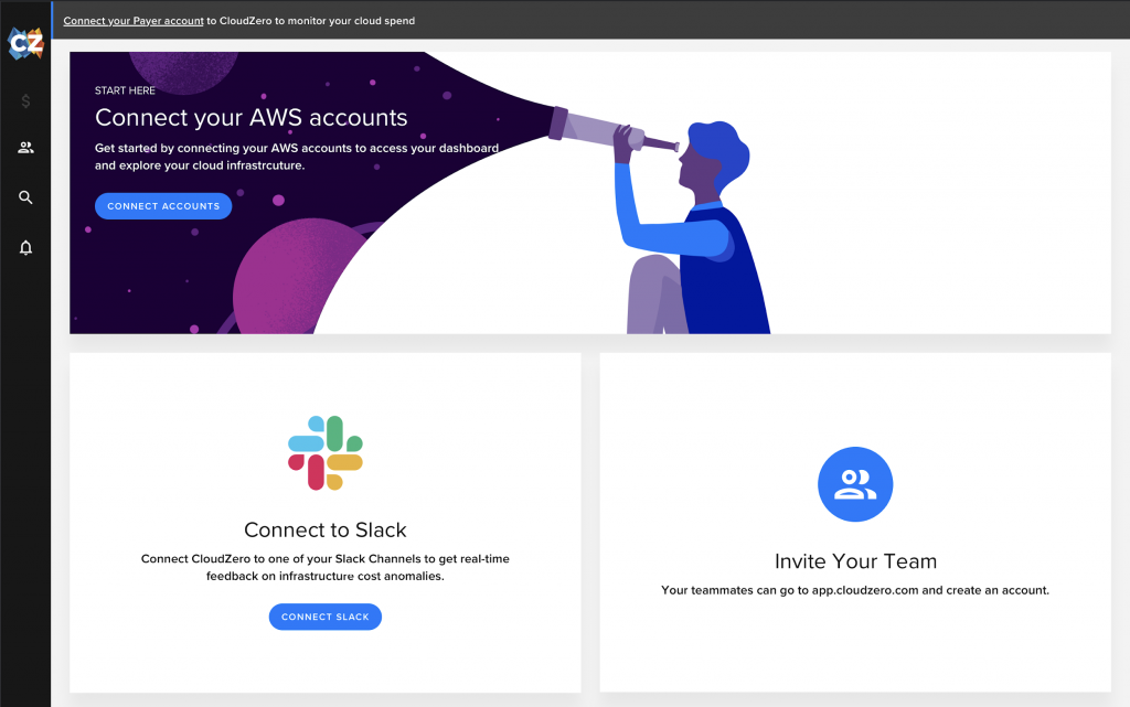 CloudZero automated account connection and onboarding webpage for connecting AWS accounts, Slack integration and adding team members found at https://app.cloudzero.com