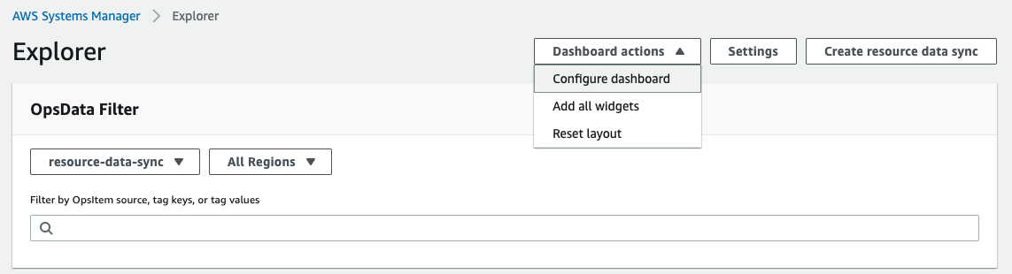 Explorer dashboard showing the option for navigating to the Configure Dashboard screen
