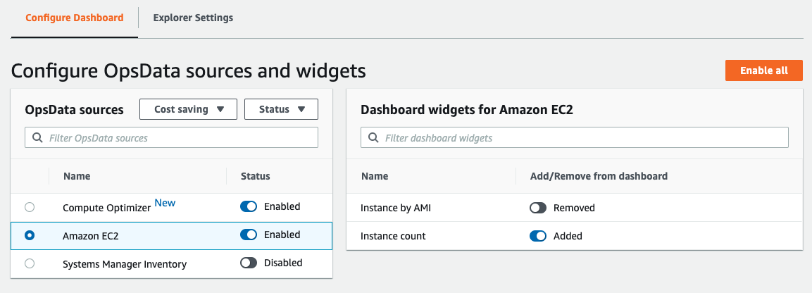 You can filter OpsData sources by selecting a category and status
