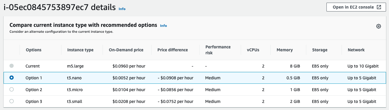 first option is t3.nano for a savings of $0.0908 per hour. Second option is t3.micro for a savings of $0.0856 per hour. Third option is t3.small for a savings of $0.0752 per hour.