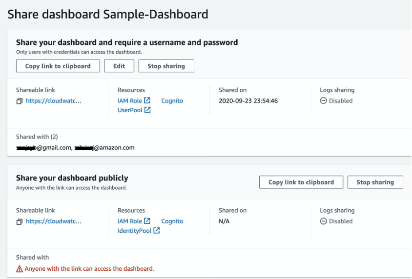 Review dashboard sharing status in the Amazon CloudWatch console. Status shows the users with view access to the dashboard, timestamp of when it was shared and whether log sharing is enabled or disabled.
