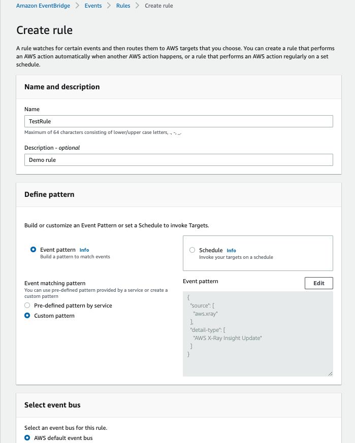 Create rule page in the Amazon EventBridge console