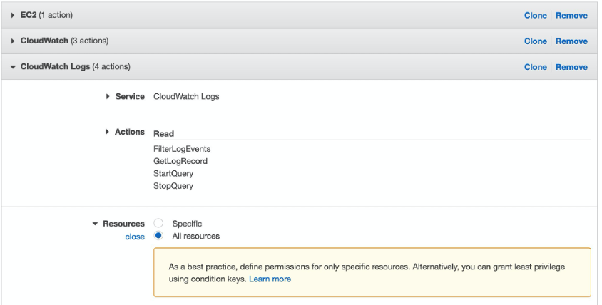 Details of the IAM permissions policy attached to the role used to share dashboards. The policy allows reach permissions for the FilterLogEvents, GetLogRecord, StartQuery, and StopQuery API actions of Amazon CloudWatch Logs